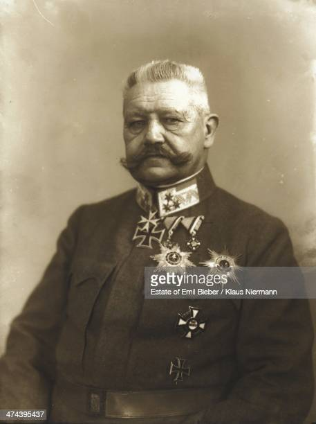 PrussianGerman field marshal and statesman Paul von Hindenburg in military uniform circa 1918