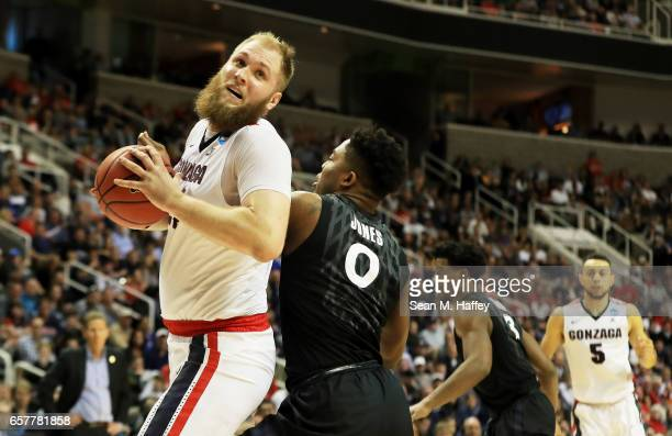 Przemek Karnowski of the Gonzaga Bulldogs drives against the Xavier Musketeers in the second half during the 2017 NCAA Men's Basketball Tournament...