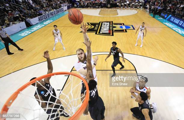 Przemek Karnowski of the Gonzaga Bulldogs goes up against the Xavier Musketeers in the first half during the 2017 NCAA Men's Basketball Tournament...