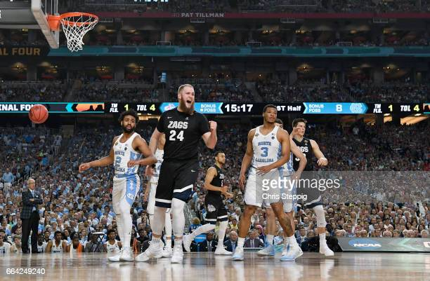 Przemek Karnowski of the Gonzaga Bulldogs reacts after a play during the 2017 NCAA Men's Final Four National Championship game against the North...