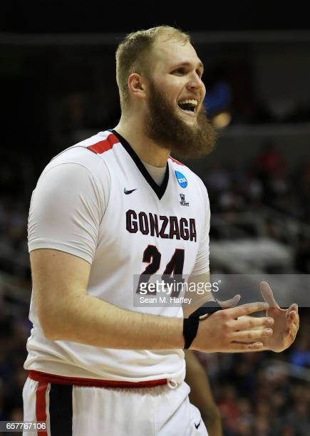 Przemek Karnowski of the Gonzaga Bulldogs reacts in the first half against the Xavier Musketeers during the 2017 NCAA Men's Basketball Tournament...
