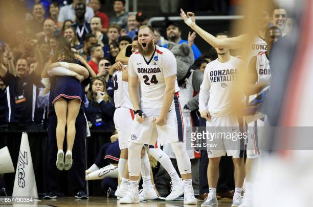 Przemek Karnowski of the Gonzaga Bulldogs reacts late in their 83 to 59 win over the Xavier Musketeers during the 2017 NCAA Men's Basketball...