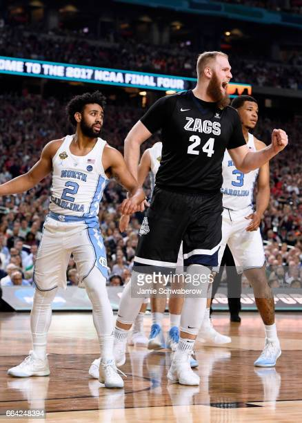 Przemek Karnowski of the Gonzaga Bulldogs reacts to a play against the North Carolina Tar Heels during the 2017 NCAA Men's Final Four National...