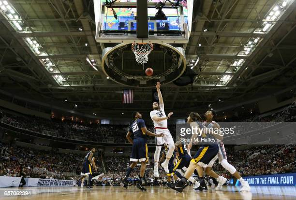 Przemek Karnowski of the Gonzaga Bulldogs shoots against the West Virginia Mountaineers in the first half during the 2017 NCAA Men's Basketball...