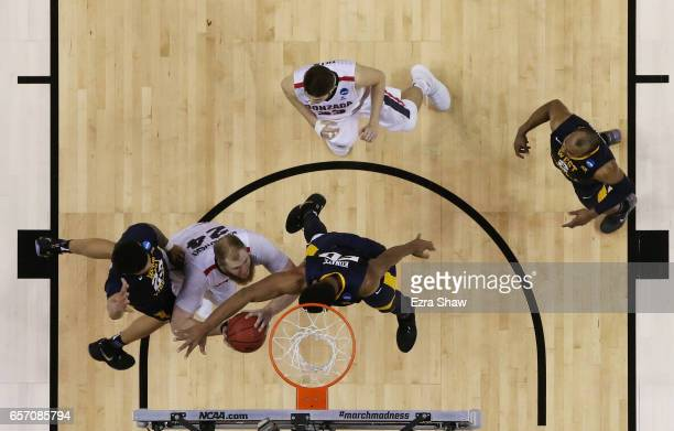 Przemek Karnowski of the Gonzaga Bulldogs shoots against the West Virginia Mountaineers during the 2017 NCAA Men's Basketball Tournament West...