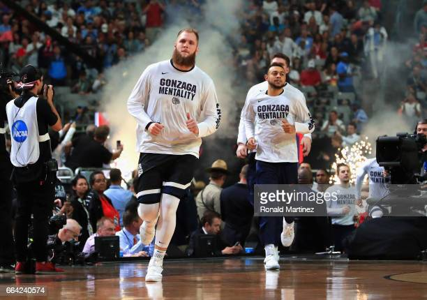 Przemek Karnowski of the Gonzaga Bulldogs takes the court with teammates before the game against the North Carolina Tar Heels during the 2017 NCAA...