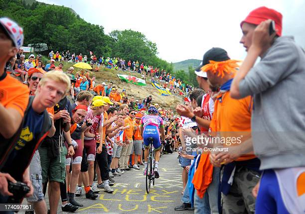 Przemysaw Niemiec of Team LampreMerida makes his way through Dutch corner during stage eighteen of the 2013 Tour de France a 1725KM road stage from...