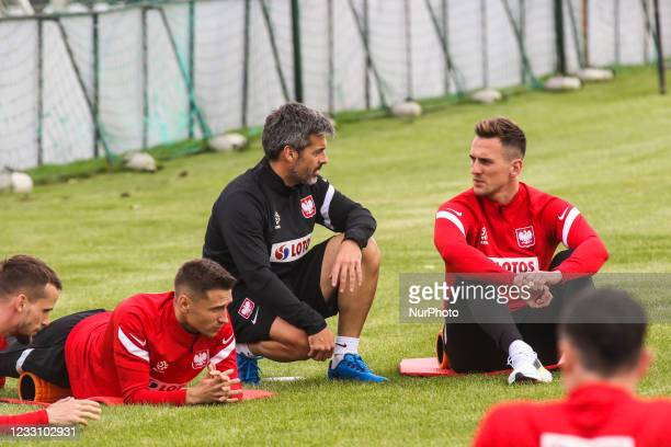 Przemyslaw Frankowski, Lluis Sala Perez, Arkadiusz Milik during the Polish national team training before EURO 2020 practice session, on May 25 in...