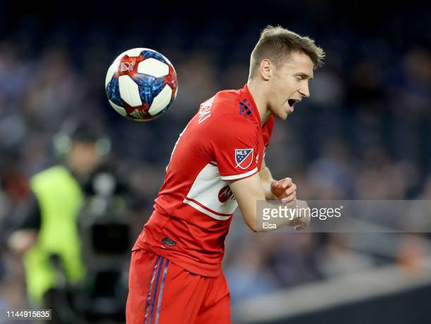 Przemyslaw Frankowski of Chicago Fire reacts after he failed to keep the ball in bounds in the second half against the New York City FC at Yankee...