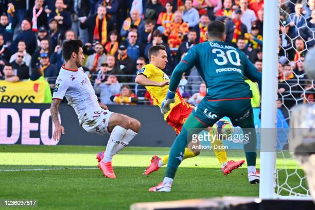 Przemyslaw FRANKOWSKI of Rc Lens scores a goal during the Ligue 1 Uber Eats match between Lens and Metz at Stade Bollaert-Delelis on October 24, 2021...