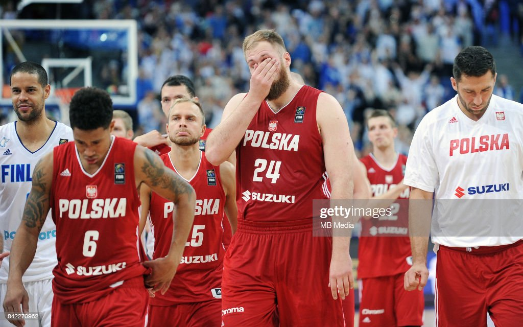 Przemyslaw Karnowski of Poland reacts during the FIBA Eurobasket 2017 Group A match between Finland and Poland on September 3, 2017 in Helsinki, Finland.