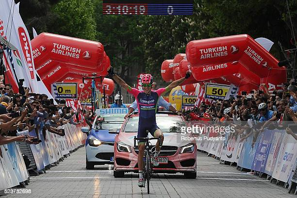 Przemyslaw Niemiec of Lampre-Merida reacts after winning stage 1 of the 2016 Tour of Turkey on April 24, 2016 in Istanbul, Turkey.