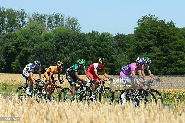 Przemyslaw Niemiec of Poland and Lampre Merida leads the chasing group during stage thirteen of the 2013 Tour de France, a 173KM road stage from...