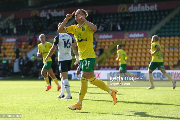 Przemyslaw Placheta of Norwich City celebrates after scoring his team's second goal during the Sky Bet Championship match between Norwich City and...