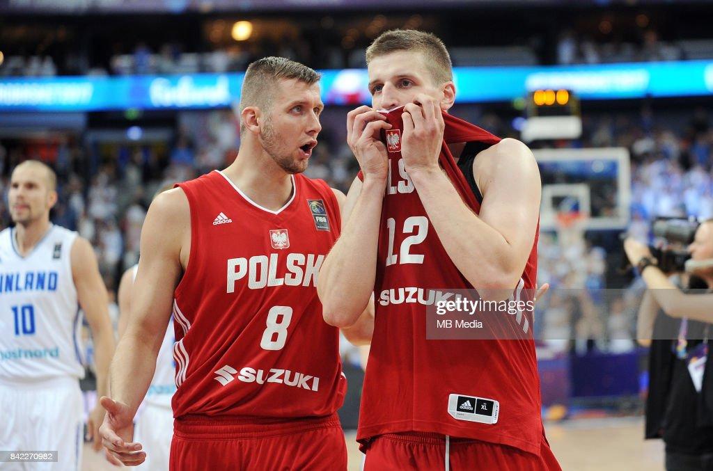 Przemyslaw Zamojski, Adam Waczynski of Poland reacts during the FIBA Eurobasket 2017 Group A match between Finland and Poland on September 3, 2017 in Helsinki, Finland.