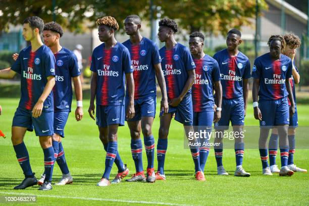 Psg U19 players during the French U19 Championship match between PSG U19 and Entente U19 at Camp des Loges on September 9 2018 in Paris France