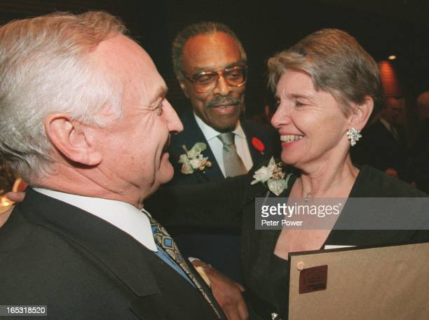 HamiltonNov 10 1999Jackie Lautens right is hugged and congratulated by personal friend and founder of the Hamilton Gallery of Distinction Jack Pelech...