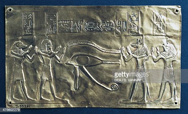 Psusennes I's gold plate with the eye of Horus Egyptian civilisation Third Intermediate Period Dynasty XXI Cairo Egyptian Museum