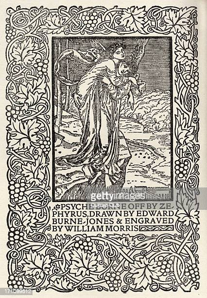 'Psyche borne off by Zepyrys' engraving from William Morris' Manifesto for the founding of Kelmscott Press part of the Arts Crafts Movement English...