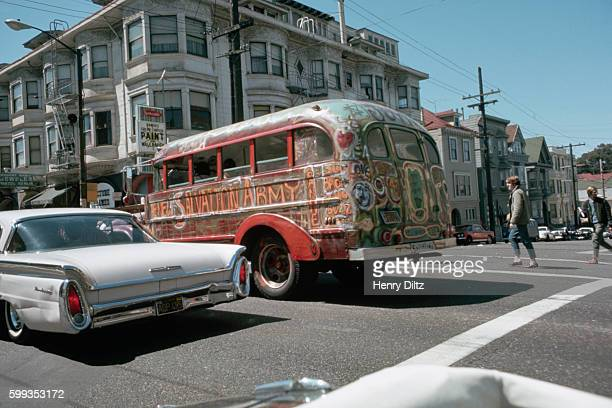 A psychedelic bus crosses an intersection in the HaightAshbury during The Summer of Love