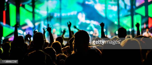 psychedelic concert crowd - festival goer stock pictures, royalty-free photos & images