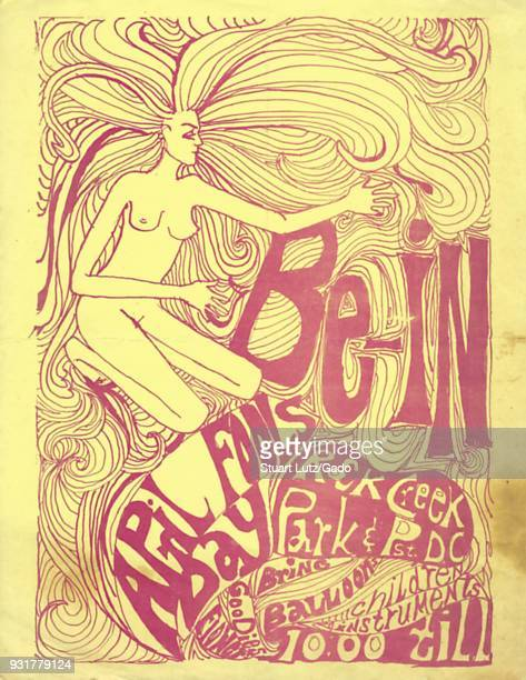 Psychedelic hippie style poster featuring imagery of a nude woman and elaborate typography calling for a 'BeIn' a variation of a sitin protest...