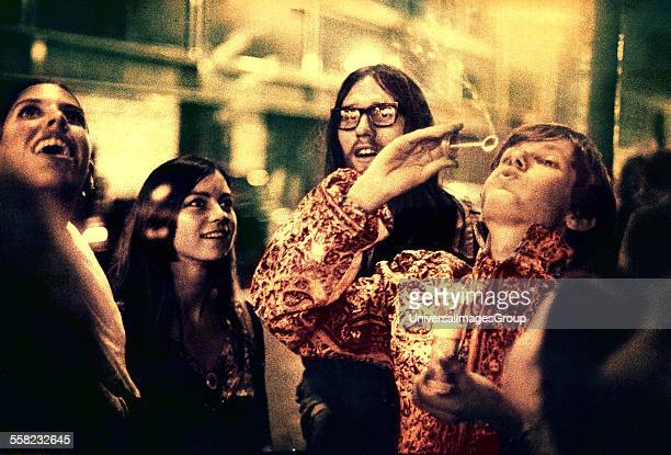 Psychedelic Hippies outside UFO Psychedelic club London UK 1967