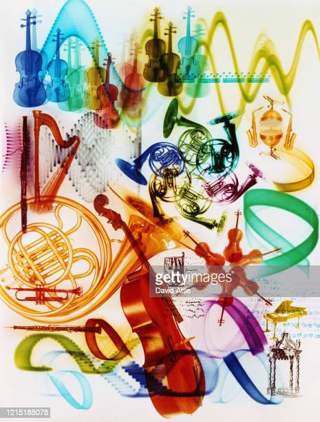 Psychedelic photo montage of classical musical instruments, in 1969 in New York City, New York.