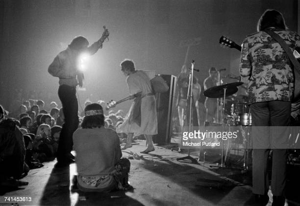 Psychedelic rock group Tomorrow performing at the International LoveIn Festival held at Alexandra Palace London 29th July 1967 Standing left to right...