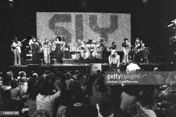 Psychedelic soul group 'Sly And The Family Stone' performs on the TV show 'The Midnight Special' on December 17 1976 in Burbank California