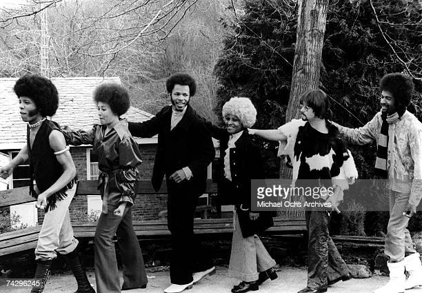 Psychedelic soul group Sly Family Stone make a human dancing train in circa 1970 Sly Stone Cynthia Robinson Freddie Stone Rosie Stone Jerry Martini...