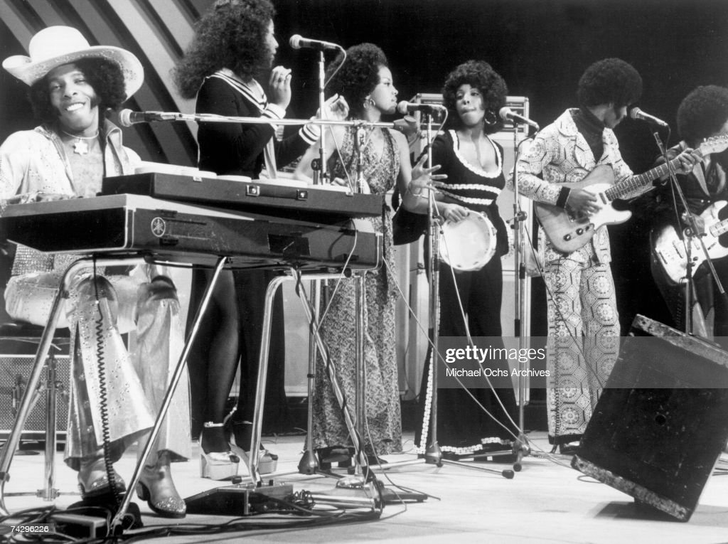 Psychedelic soul group 'Sly & The Family Stone' perform on the TV show 'Wide World In Concert' on December 6, 1974.