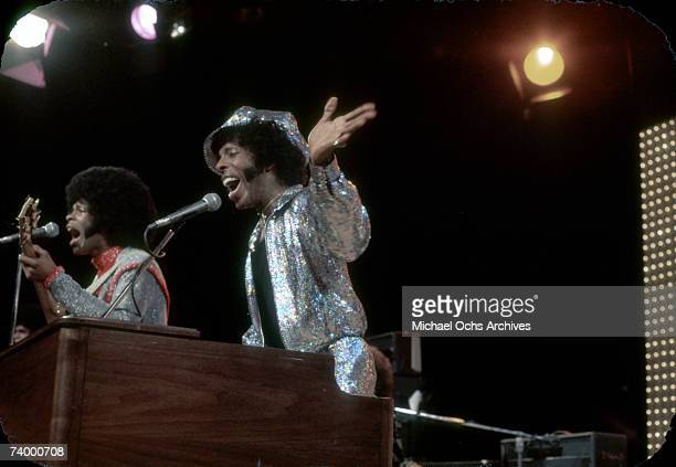 Psychedelic soul group 'Sly The Family Stone' performs on the TV show 'The Midnight Special' on in 1971in Burbank California
