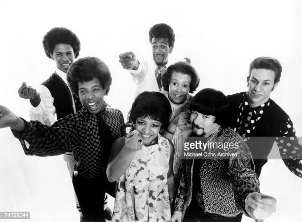 Psychedelic soul group 'Sly The Family Stone' pose for a portrait in 1968 Freddie Stone Sly Stone Rosie Stone Larry Graham Cynthia Robinson Jerry...