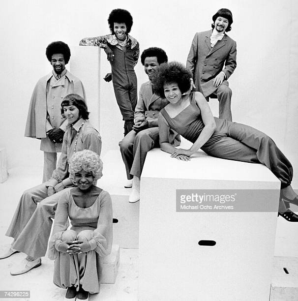 Psychedelic soul group 'Sly The Family Stone' pose for a portrait in 1969 Rosie Stone Gregg Errico Larry Graham Sly Stone Jerry Martini Freddie Stone...