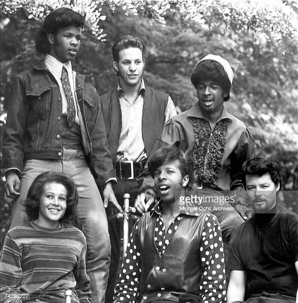 Psychedelic soul group 'Sly The Family Stone' pose for a portrait in 1968 Freddie Stone Gregg Errico Larry Graham Jerry Martini Sly Stone Cynthia...