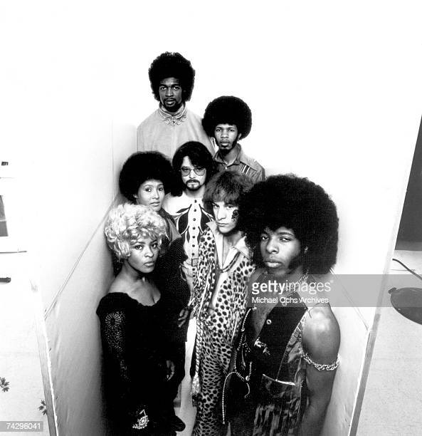Psychedelic soul group 'Sly The Family Stone' pose for a portrait on March 26 1969 Rosie Stone Cynthia Robinson Larry Graham Freddie Stone Sly Stone...