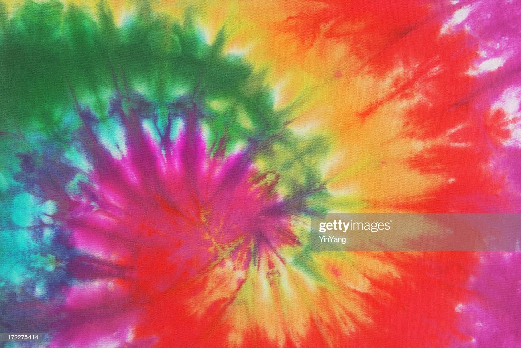 dd6f4661 Psychedelic Tie Dye, a 1960s Style Symbol of Peace Background - stock photo