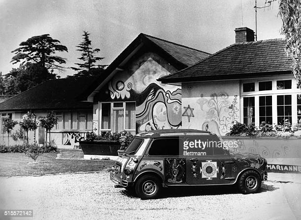 Psychedelically painted house and car belonging to George and Patti Harrison of The Beatles
