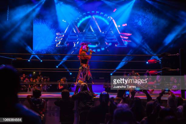 Psycho Clown makes an announcement on the ring at the Movistar Arena during an AAA World Wide Wrestling match on November 16 2018 in Bogota Colombia