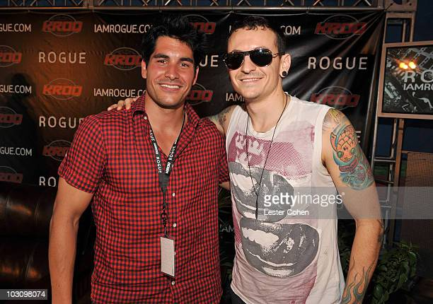 Psycho Mike and Musician Chester Benningtonof Linkin Park backstage at KROQ's Epicenter '09 Presented By Rogue at the Fairplex on August 22 2009 in...