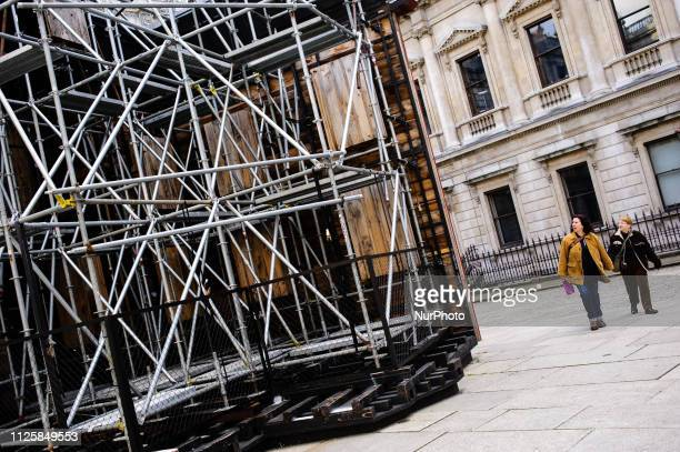 'PsychoBarn' by artist Cornelia Parker stands on display in the Annenberg Courtyard of the Royal Academy of Arts on Piccadilly in London England on...