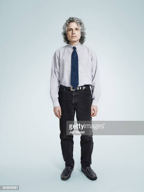 Psychologist and author Steven Pinker poses at a portrait session for New York Times Magazine