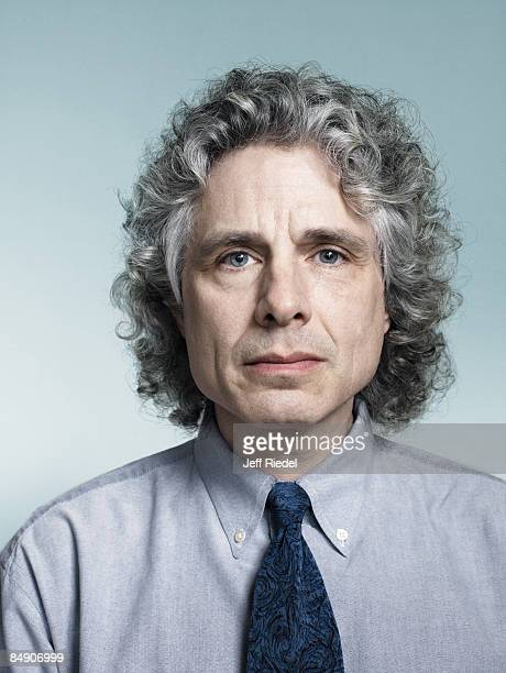 Psychologist and author Steven Pinker poses at a portrait session for New York Times Magazine Published image