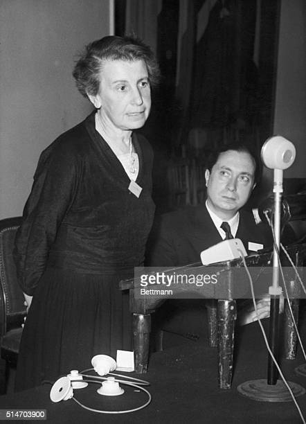 Psychologist Dr Anna Freud the youngest daughter of Dr Sigmund Freud speaks at a debate regarding psychoanalysis at the Sorbonne University She is...