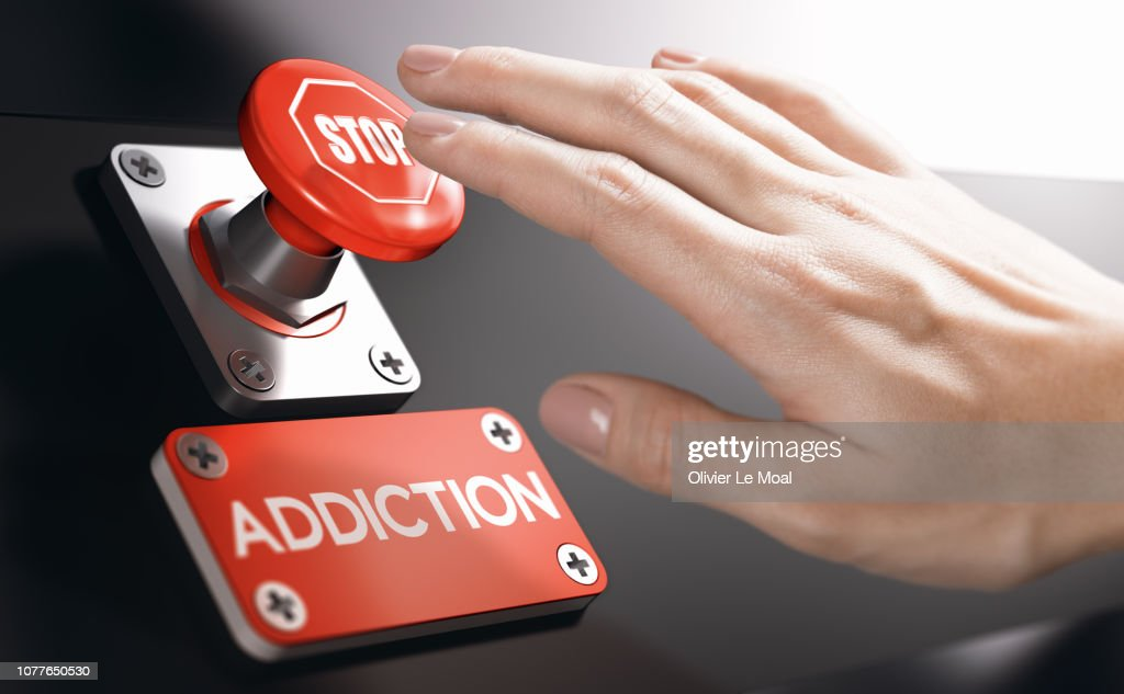 Psychology concept, Stop Addiction or Dependence : Stock Photo