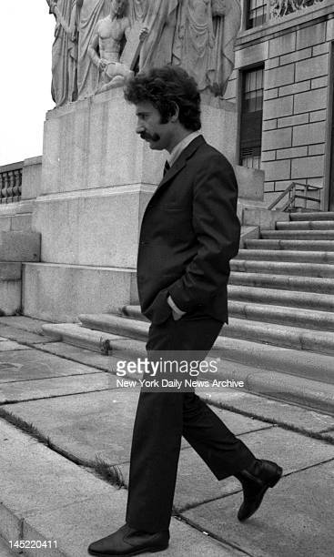 Ptl Frank Serpice leaving Bronx County Court after testifying on corruption in Police Dept in Bronx He is a prosecution witness Knapp Commission