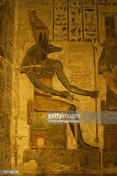 Ptolemaic temple of Hathor and Maat Polychrome reliefs that decorate the interior Anubis Seated figure Deir elMedina Egypt