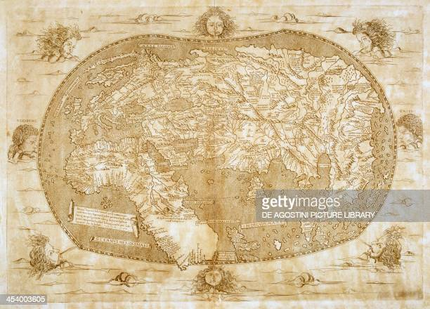 Ptolemaic world map by Francesco Rosselli copper engraving printed on paper 37x 52 cm Italy 15th century Florence Biblioteca Nazionale Centrale