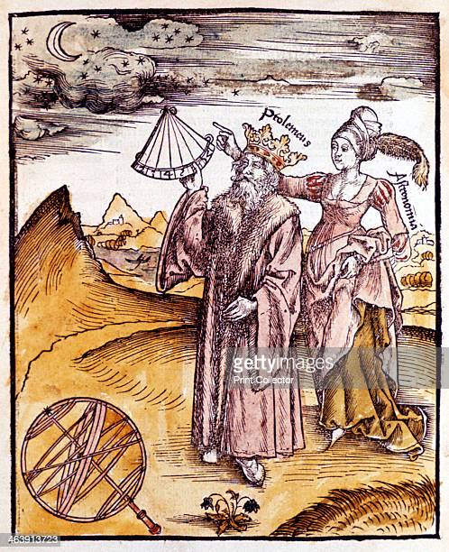 Ptolemy Alexandrian Greek astronomer and geographer 1508 Ptolemy using a quadrant to observe the Moon and stars Urania Muse of Astronomy instructs...